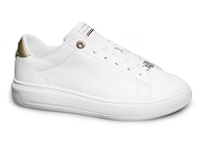TOMMY HILFIGER METALLIC LEATHER CUPSOLE 5725<br>blanc